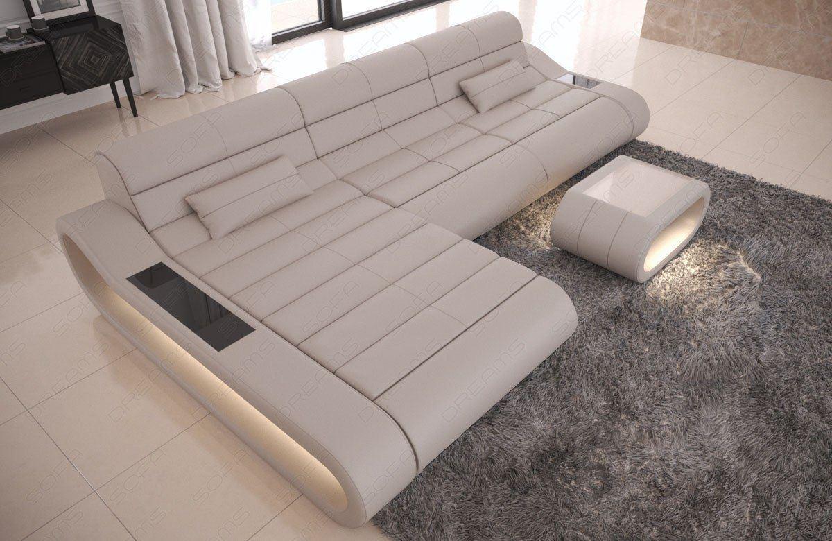 Couch Concept Leder L Form lang beige