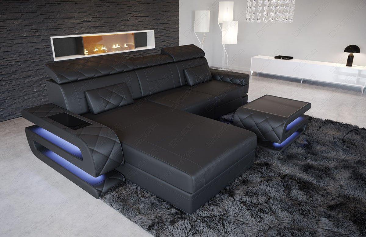Ledersofa Bologna in der L Form - Moderne Couch als Ecksofa